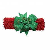 Efivs Arts 6Pcs Merry Christmas Baby Girl's Elastic Headbands Knitting Bow Princess Hairband Red Green