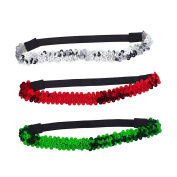 Lux Accessories Festive Holiday Christmas Red Green Silver Sequin Headbands 3pc