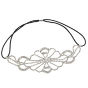 Lux Accessories Crystal Pave Rhinestone Floral Stretch Headband