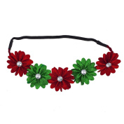 Lux Accessories Festive Holiday Christmas RedGreen White Crystal Flower Headband