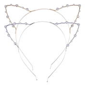 Mudder Cat Ear Headband, 2 Pieces, Gold and Silver