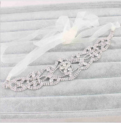 Fashion Bridal Rhinestone Crystal Flower Wedding Headband Hair Vine with Ivory Organza Belt