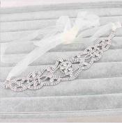 Fashion Bridal Rhinestone Crystal Flower Wedding Headband Hair Vine with Ivory Organza Belt