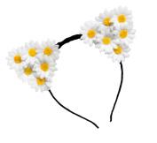 Merroyal Daisy Cat Ears Flower Headband Hairband Hen Party Bride Hair Fancy Dress