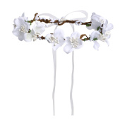 Merroyal White Flower Headband Crown Garland Halo for Wedding Festivals
