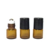 5pcs Empty Glass Essential Oil Roller Bottles Bottle with Metal Stainless Steel Roll Balls for Fragrance Essential Oils for Perfums,Makeup Oils