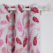 Deconovo Grommet Feather Print Thermal Insulated Blackout Curtains for Guest Room 110cm x 240cm Pink 1 Pair