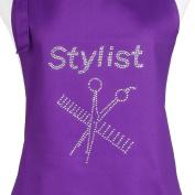 Plum Hill Hair Stylist Apron with Rhinestone Design, Purple with 3 Pockets