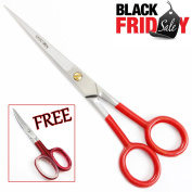 Black Friday / Xmas Sale - Professional Hair Scissors - Super Cut Professional Top Quality Hair Cutting Barber Scissors,Shears 17cm hairdressing Scissors to Cut Hair + FREE Nail Scissors