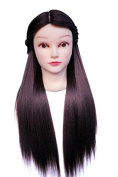TOPBeauty Brown Synthetic Hair Hairdressing Practise Training Head Doll Mannequin With Clamp