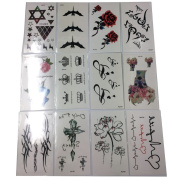 Efivs Arts 25 Sheets Temporary Premium Metallic Flash Tattoos Body Art Henna Sticker