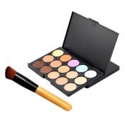 AMarkUp 15 Colours Concealer Makeup Cream Care Camouflage Contour Palette + Oblique Head Foundation Brush