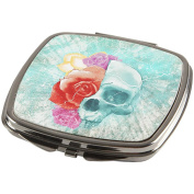 Halloween Distressed Skull and Flowers Compact