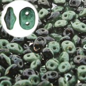 Superduo 2 Colour 2 Hole 2.5x5mm Duets Black White Green Lustre Apx 24Gram