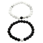 Y & M His and Hers Matching Set Lover Bracelet Black Matte Agate & White Howlite 8mm Beads Couple Bracelet with Gift Box