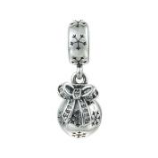 FJCharm Christmas Ornament Clear Cz Snowflake Dangle Charm Fits Pandora Charms Bracelet for Xmas Gift