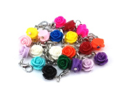 yueton 20pcs Assorted Colour Rose Dangle Charms Pendant with Lobster Clasp Jewellery Making Accessory Fit Floating Locket Charms Necklaces