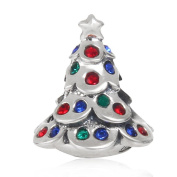 Choruslove 925 Sterling Silver Christmas Tree Sparkling Crystal Charm Bead for European Style Snake Chain Bracelet