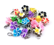 yueton 20pcs Assorted Colour Frangipani Flower Dangle Charms Pendant with Lobster Clasp Jewellery Making Accessory Fit Floating Locket Charms Necklaces