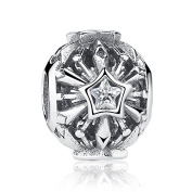 Frozen Snowflakes With Clear CZ 925 Sterling Silver Bead Fits Pandora Charm Bracelet