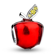 Apple With Red Enamel 925 Sterling Silver Bead Fits Pandora Charm Bracelet