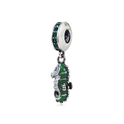 Seahorse with Green CZ Dangle 925 Sterling Silver Bead Fits Pandora Charm Bracelet