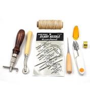 ELEOPTION Sewing Leather Tools 1 set (7pcs) Craft Awl Costura Hand Stitching Set Kit Thread Awl Waxed Thimble