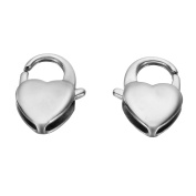 VALYRIA 3pcs Stainless Steel Silver Heart Shape Claw Lobster Clasps Findings 16x11mm