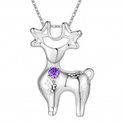 HMILYDYK Hot Fashion Jewellery 925 Sterling Silver Plated Elegant Clear Crystal Amethyst Necklace For Lady Girl Women
