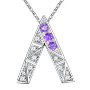 HMILYDYK Vintage Jewellery Fashion 925 Sterling Silver Plated Elegant Clear Crystal Amethyst Necklace For Lady