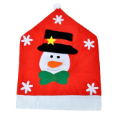Xmas Gift Christmas Chair Cover Snowman With Red Hat Christmas Decorations
