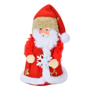 Xmas Gift Santa Claus + Snowflake Doll Toy Christmas Tree Decoration Ornaments X-mas Day,Red