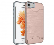 iPhone 6S Plus/6 Plus Card Holder Case,Inspirationc Shockproof Anti-scratch Hard Shell Carrying Case Cover for iPhone 6S Plus/6 Plus 14cm with KickStand--Rose Gold