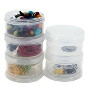 Containers Storage Small Impact Resistant Stackable Clear 5 For Beads Crafts Findings Small Items 6.4cm Round