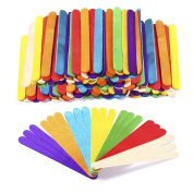 Caydo 300 Pcs 11cm Coloured Wood Craft Sticks Natural Wood Lolly Sticks for DIY Creative Crafts