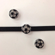 Set of 10 PC rhinestone sports soccer ball charm fits 8mm wristband for jewellery /crafting