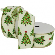 Christmas Premium Wired Ribbon, Trees Painted in Emerald and Pear Green with Red Ornament Ball Accents on Ivory Linen, 6.4cm Wide