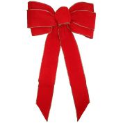 Gold Wired Red Velvet Small Ribbon Bows [7715]