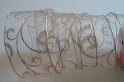 Gold Swirl Pattern & Stitching 5.1cm . x 3.7m Decorative Wired Ribbon - Perfect for Christmas!