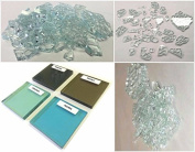 0.9kg. Broken Tempered Glass for Craft and Art Projects - SOLEXIA (green), 0.6cm Thick