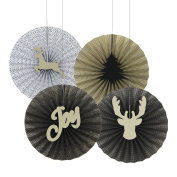 SUNBEAUTY Gold Black Christmas Paper Fans Pinwheel Christmas Party Backdrop Decoration