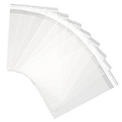 100 Pcs 5 7/16 X 7 1/4 Clear (A7+) (P) Card Resealable Cello / Cellophane Bags - Tape Strip on Body
