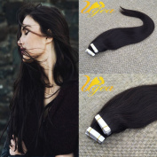Ugea Tape in Extensions Natural Black Remy Human Hair Extensions Silky Straight Skin Weft Hair Extensions 60cm 20pcs 50g