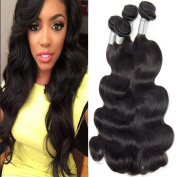 Lemoda Hair Brazilian Virgin Hair Body Wave Weft 7A Grade Black Colour Hair Extension Weave Human Hair 4 Bundles (100+/-5g)/bundle