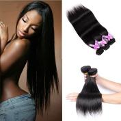 Shengmeiyuan Beauty Show 8-80cm 100% Unprocessed 9A Brazilian Straight Virgin Hair 3Bundles Human Hair Weave Extensions Natural Black Colour