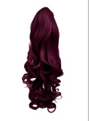 60cm PONYTAIL Clip in Hair Extensions WAVY Rich Wine #35 REVERSIBLE Claw Clip