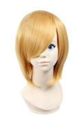 Icoser 30cm 190g Anime Cosplay Wigs Party Gold Short Synthetic Hair for Women