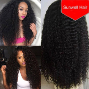 Sunwell 30cm - 60cm Braizlian Deep Curly Glueless Lace Front Wig 100% Unprocessed Virgin Hair Natural Black 41cm