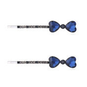 2 Pcs Heart Rhinestones Hair Pins for girls Colourful Hair Clips