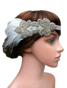 Babeyond 1920s Headband Flapper Headbands 1920s Great Gatsby Style Bridal Feather Headpiece
